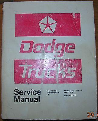 NICE Mopar 72 Dodge Service Manual Truck 100 200 300 400 500 600 700 800 Factory 100 200 400 800 Manual