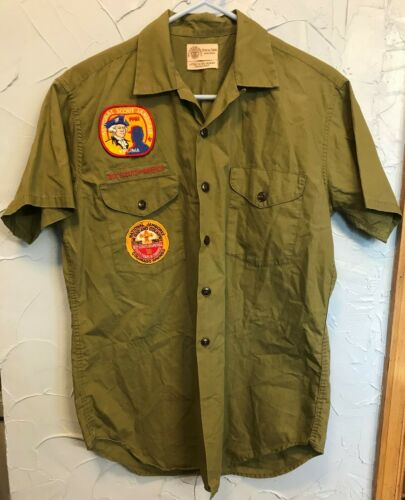Vintage Boy Scouts Small Olive Green Short Sleeve Shirt Jamboree Patches