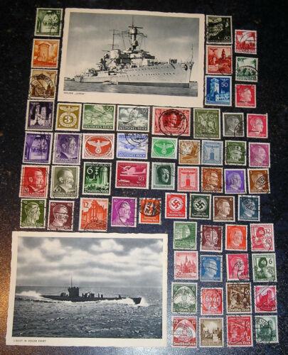German WW2 Kriegsmarine U-boat and Cruiser Postcards + 60stamps FREE SHIPPING !