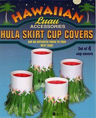Lot of 4 Hula Skirt Cup Bottle Can Covers Hawaiin Luau Party Accessories Flowers - Hawaiin Luau
