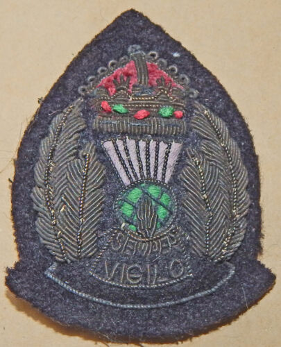 LONG Obsolete SCOTLAND Police SENIOR Officer Bullion Wire Cap Badge Pre-1953 # 2