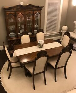 Solid Wood Dinning Suite Table 6 Chairs Hutch And Extra Leaf