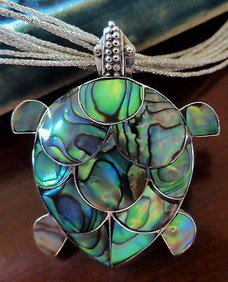 925 Sterling Silver Turtle Paua Abalone Shell Pendant Pin Brooch 1 25X1 4  35Mm