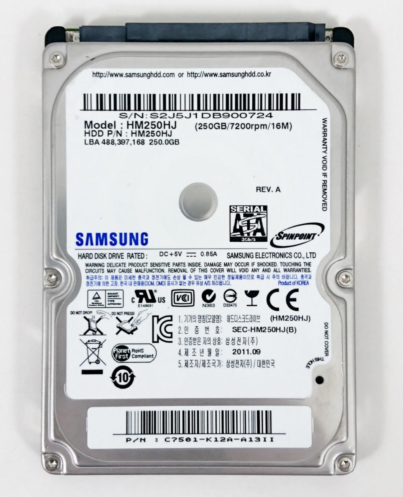 "Samsung SpinPoint MP4 HM250HJ 250 GB 7200RPM 2.5"" SATA Noteb"