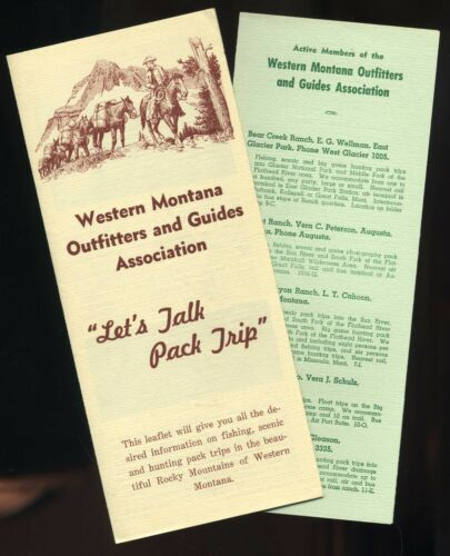 Vintage  Western Montana Outfitters & Guides Ranch Camp Souvenir Travel Brochure