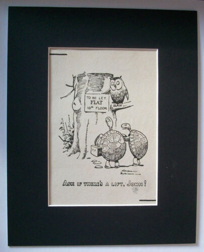 Print Owl Turtles Gordon Robinson Rent Flat Is There a Lift 1930s Bookplate wMat
