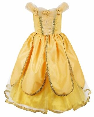 Girls Belle Dress (Girls Belle Cosplay Princess Dress Fancy Costumes Yellow Ball Gown Party)
