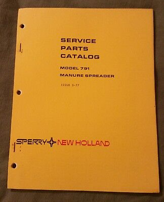 New Holland 791 Manure Spreader Service Parts Catalog