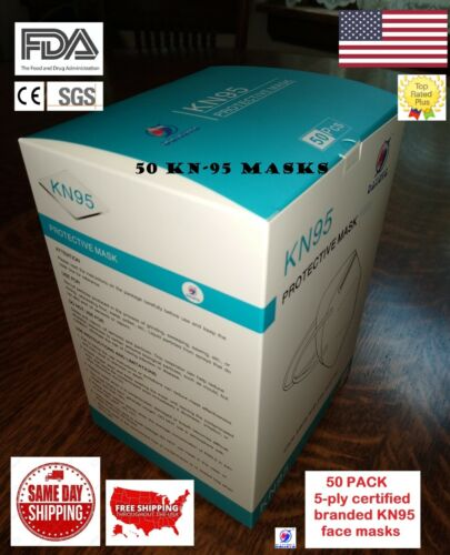 50 PACK 5-ply NK95 Protective Face Mask Respirator CE FDA Listed BFE99 Medi