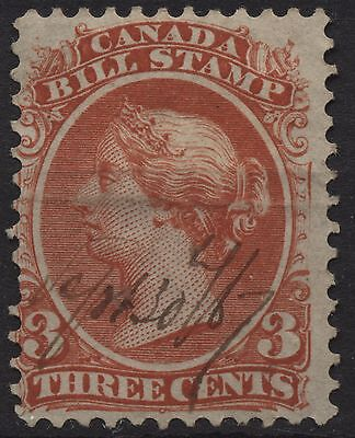 Canada Revenue VanDam # FB20 3c red bill stamps of 1865