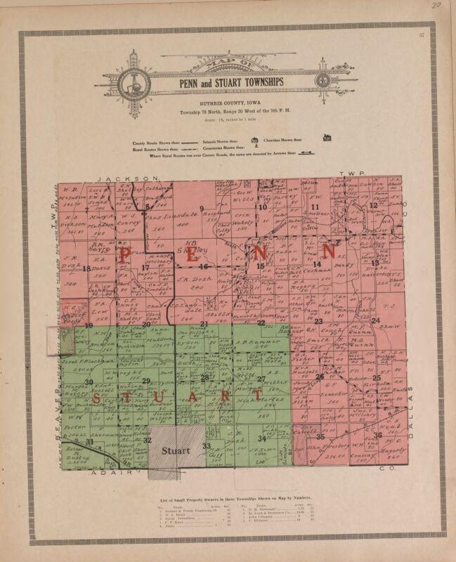 1917 Atlas GUTHRIE COUNTY plat map IOWA old GENEALOGY history Land DVD P148