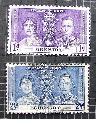 Grenada 1937 George VI Coronation Part set SG149 and SG151 USED