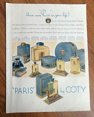 1938 Coty Perfume Ad Paris by Coty