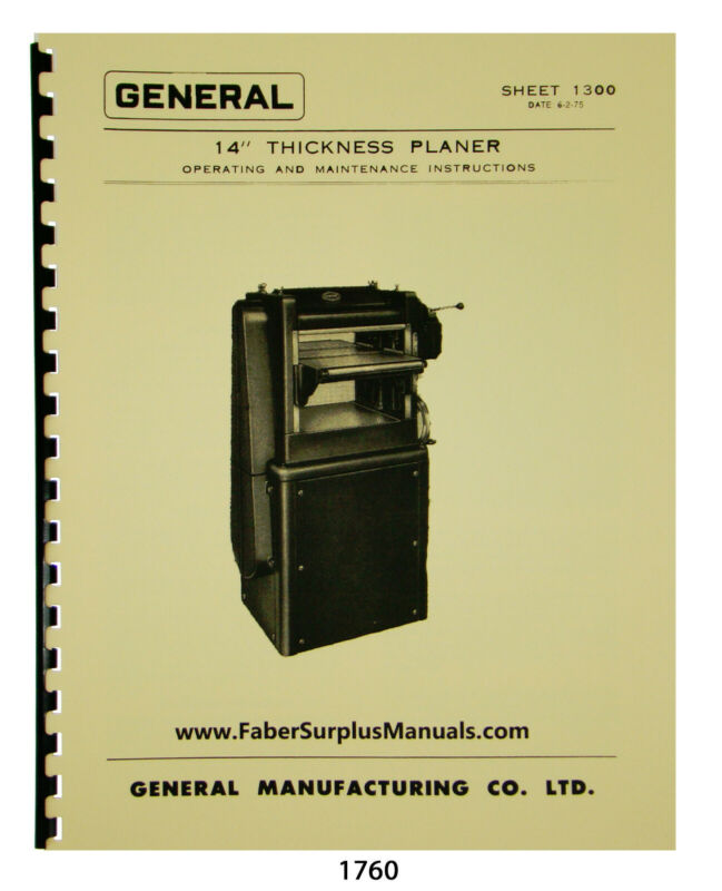 "General 14"" Planer Operating, Maintencance, & Parts List Manual #1760"