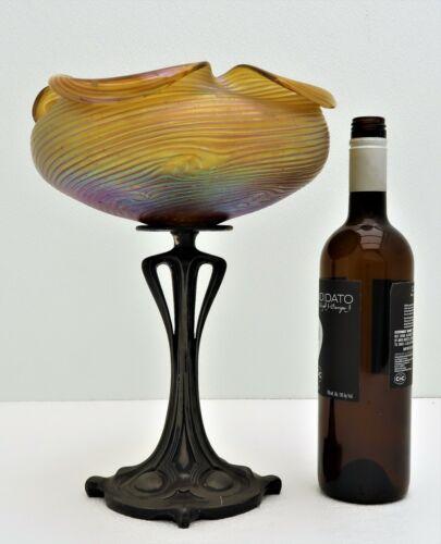 Loetz Austrian  Art Glass & Bronze Centerpiece Bowl Yellow Art Nouveau Bohemian