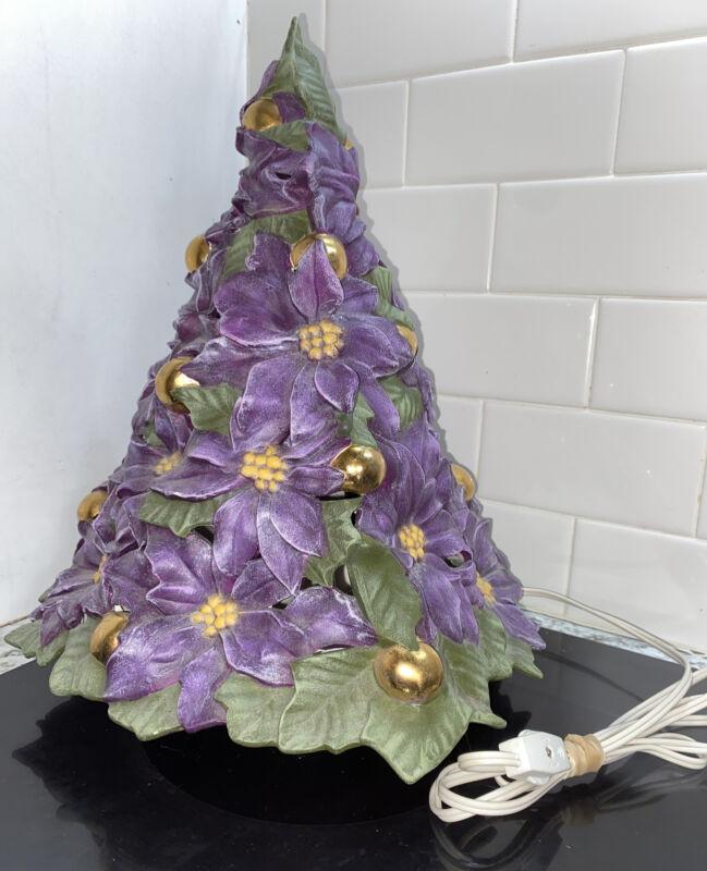 Vintage Atlantic Mold Ceramic Poinsettia Tree Purple Gold