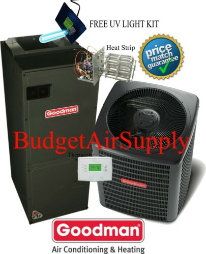 3.5 ton 16 SEER Goodman Heat Pump System GSZ160421+ASPT47D14+Tstat+Heat+UV LITE
