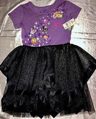 Black Tutu Halloween (Shopkins Girls Purple Halloween Black Sparkle Tulle Tutu Skirt Dress NWT, M)