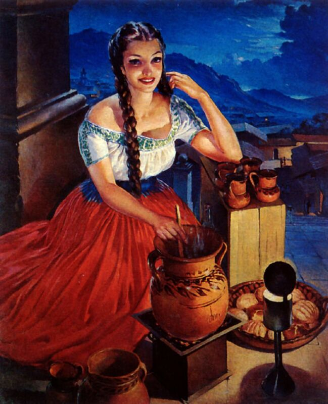 1940s Mexico Latina Senorita Woman w/Pot Advertisement Vintage Pin Up Art Poster
