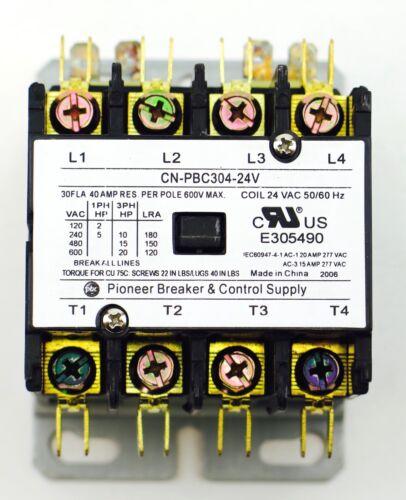 CN-PBC304-24V DEFINITE PURPOSE CONTACTOR 30AMP 4POLE 24V COIL 30 FLA 40 RES