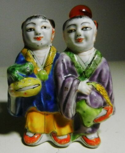 Antique Chinese Porcelain MAN & WOMAN Couple Double Snuff Bottle-CHINA