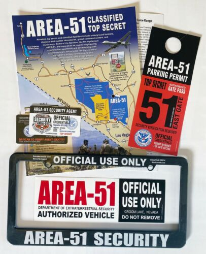 Area 51 Map, Permit, Security Pass, License Frame & Bumper Sticker