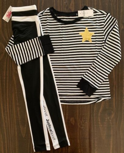 NWT Justice Girls Striped LS Tee & Sport Stripe Leggings Outfit! Choose Size!