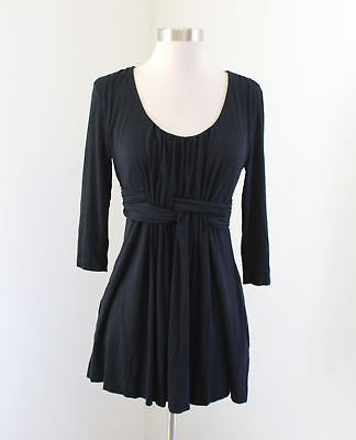 Soma Black Scoop Neck Woven Baby Doll Tunic Top Blouse Size S 3/4 Sleeve Scoop Baby Doll