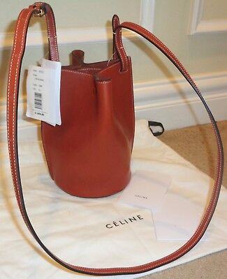 FAB! NWT NEW $1850 CELINE Logo Pinched Bucket Shoulder Crossbody small BAG brown