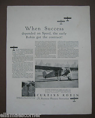 Vintage 1930 Curtiss Robin Airplane Original Print Ad
