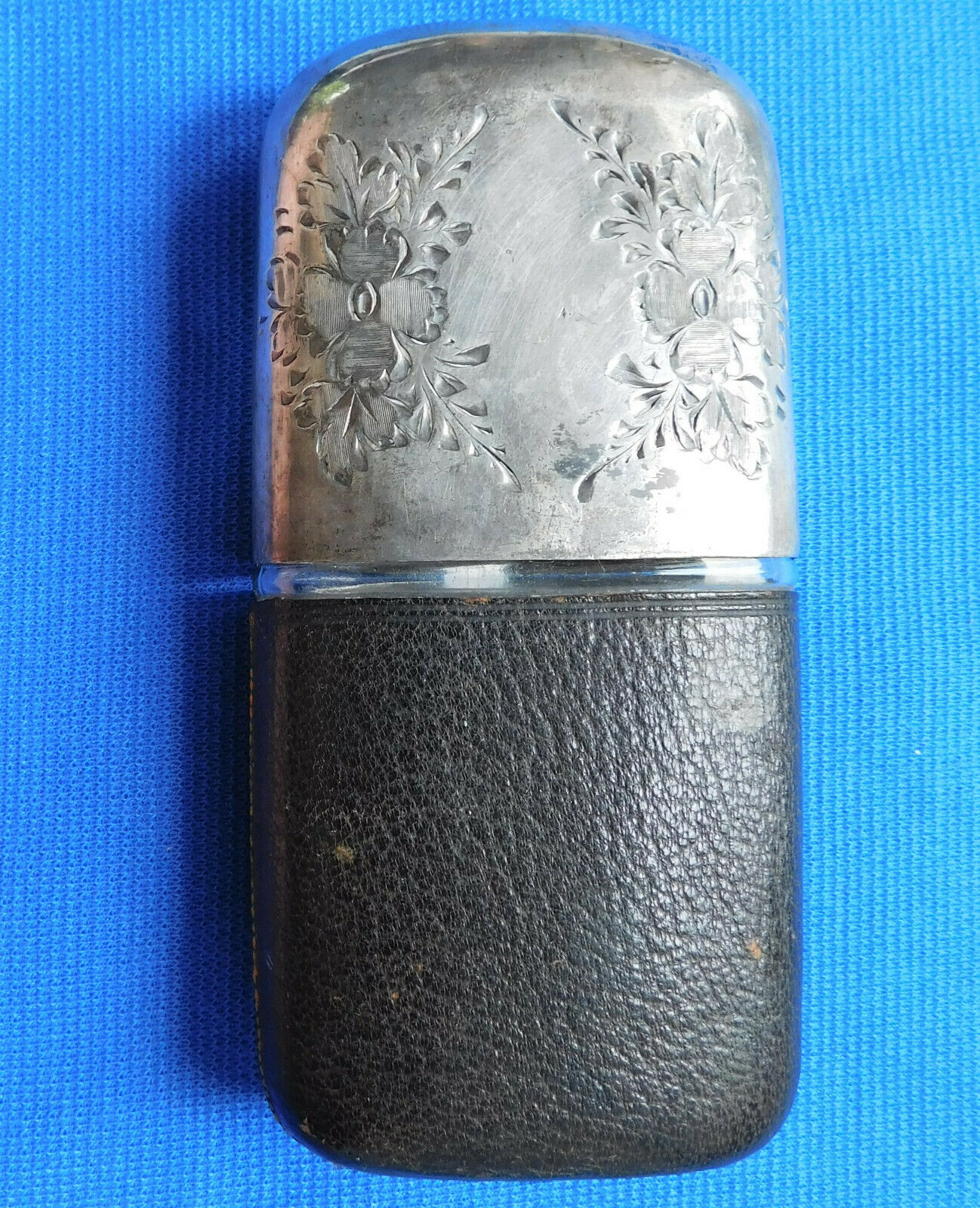 Vintage glass hip flask Engraved flowers on drinking cup INCOMPLETE LID MISSING
