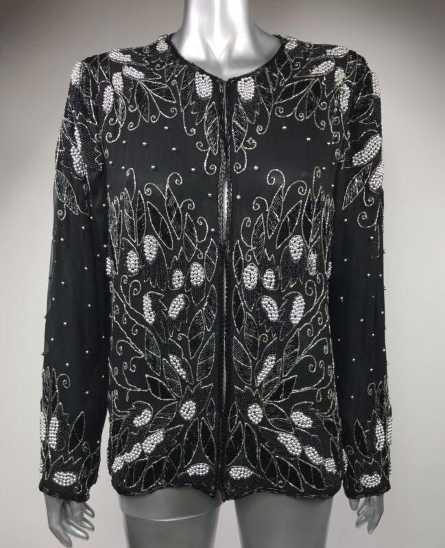 Vintage 80s Jagswear Women Evening Jacket 100% Silk Beads Black Silver Medium