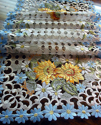 Embroidery Table Runner Cut work lace Sunflowers Daisy Blue 54
