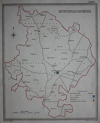 Original antique map HUNTINGDONSHIRE POLITICAL Samuel Lewis, J&C Walker, c.1835