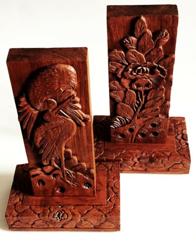 2 CHINESE HAND CARVED WOOD RELIEF PANEL PLAQUE SCULPTURE BIRD TROPICAL FLOWER