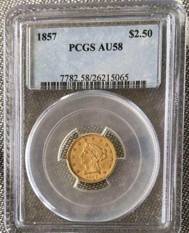 1857 $2.5 LIBERTY HEAD GOLD QUARTER EAGLE PCGS AU58
