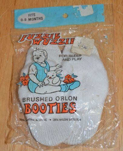 Vintage Babies Infants Fuzzie Wuzzies Brushed Orlon Booties 0-9 Months NIP NOS