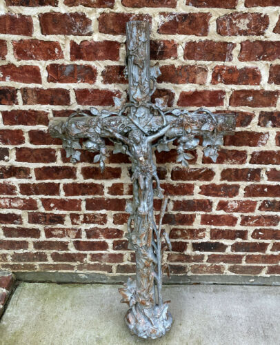 "Antique Crucifix Cross Cast Iron Garden Architectural Chapel Church Cemetery 54"""