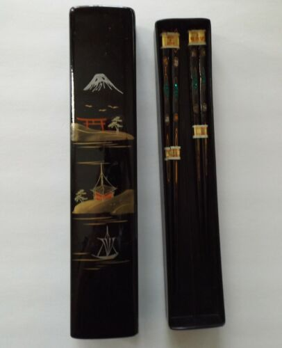 Vintage AIZU Japanese His & Her Inlaid Wood Chopsticks in Lacquer Box Lovely