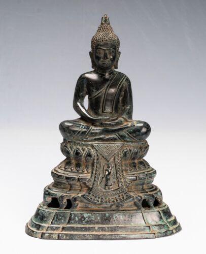 "Buddha - Antique Khmer Style Bronze Enthroned Meditation Buddha Statue -32cm/13"""