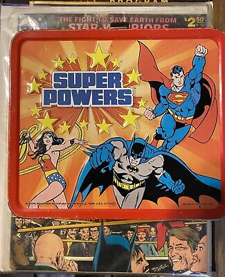 Vintage 1983 DC Super Powers Metal Lunchbox, No Thermos - Superman Batman