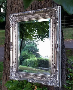 Ornate French Vintage Style Antique Silver Wall Mirror & Bevelled Glass