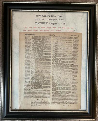 1489-1638 LARGE FRAMED Bible Leaves -THESE FRAMED LEAVES MAKE MEMORABLE GIFTS !