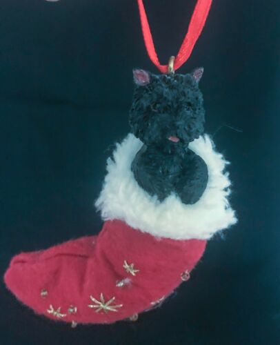 Black Cairn Terrier in a Christmas Stocking Ornament