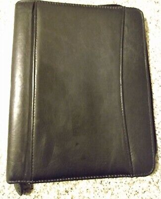 Franklin Covey Quest Classic Black Leather 1.5 Rings Full Zip Plannerbinder