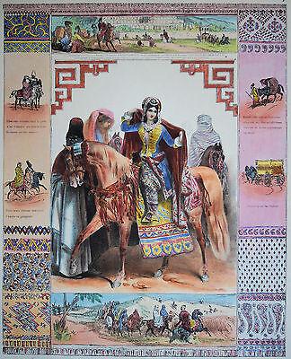 PERSIEN  Reitende Haremsdamen sehr schöne dekorative Lithographie 1830 Original