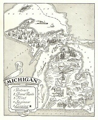 Michigan State Map - 1950s Antique MICHIGAN State Map Animated Picture Map of Michigan BW 6823
