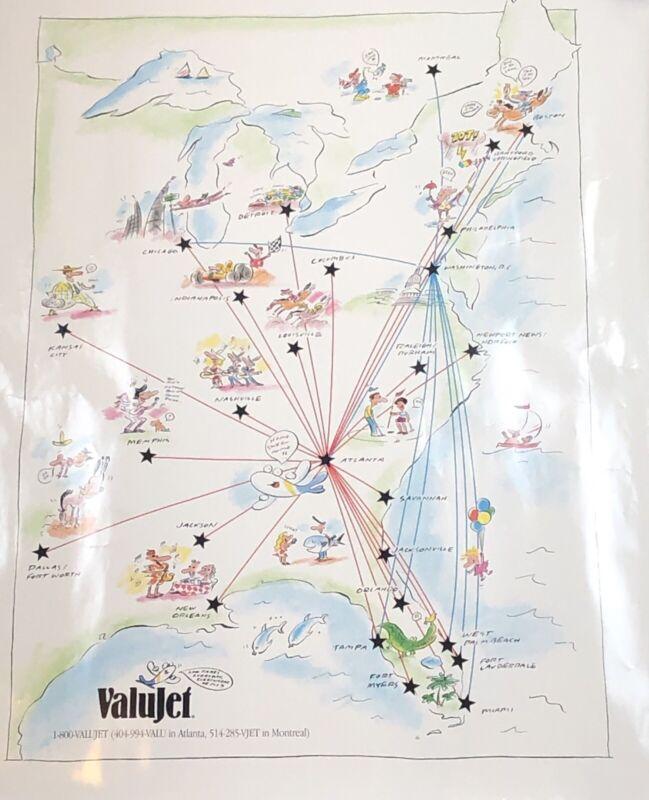 Vintage Valujet AirTran Southwest Airlines Route Map 1996