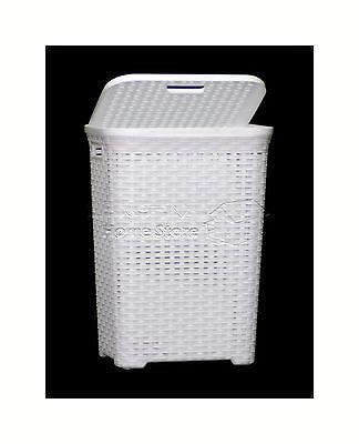 60L Litre Woven Style Rattan Plastic Laundry Basket Bin Storage Box  WHITE