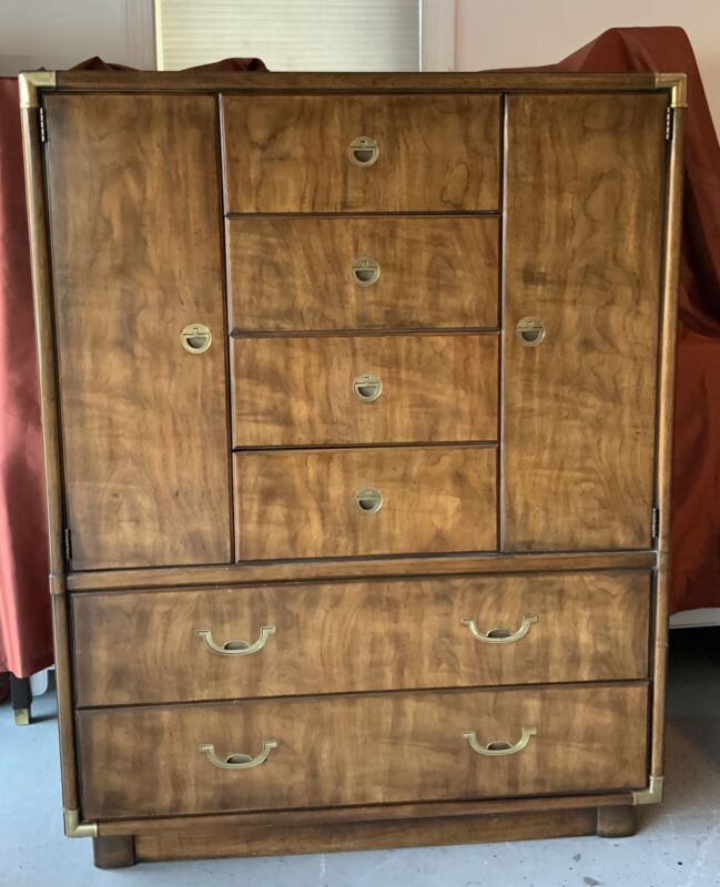 Drexel Accolade Campaign Style 6 Drawer Armoire Tall Chest